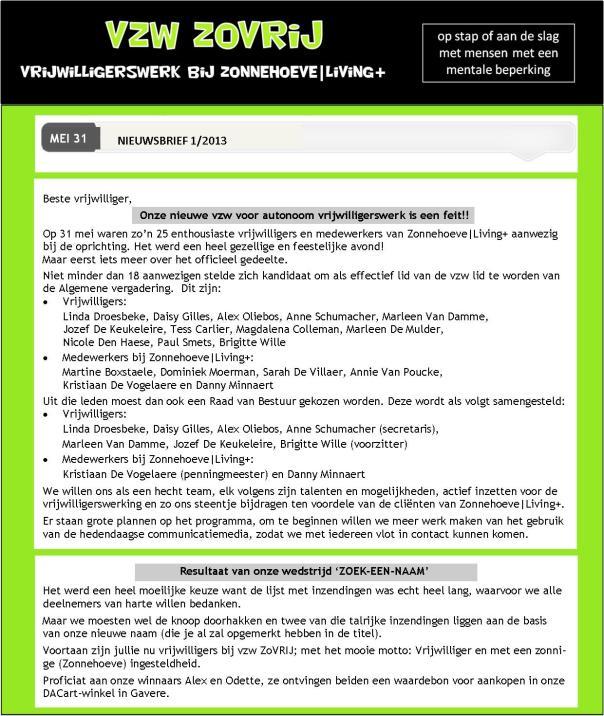 nieuwsbrief 1 - ZoVRIJ - oprichtingsvergadering p1