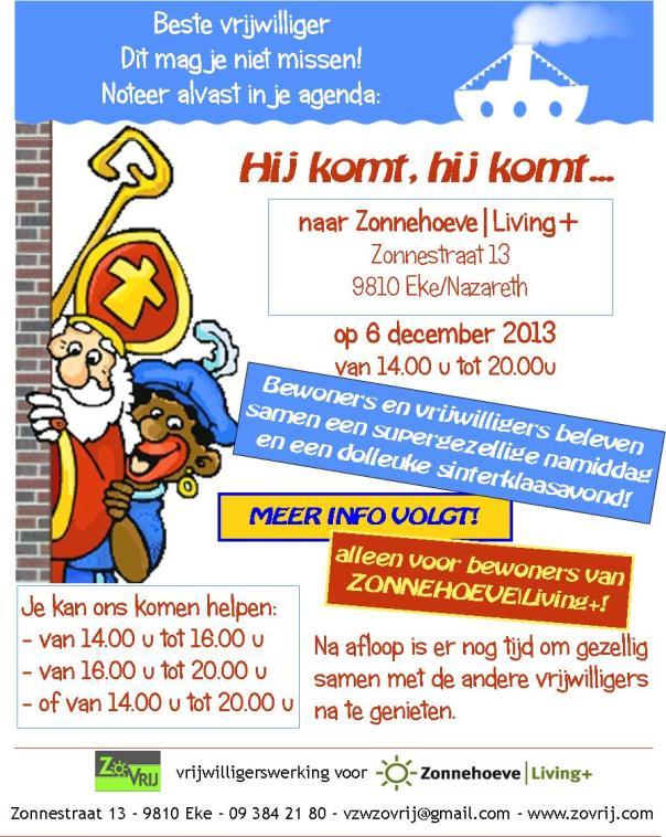 aankondiging Sinterklaasfeest 2013