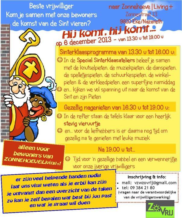 Uitnodiging Sinterklaasfeest vrijwilligers