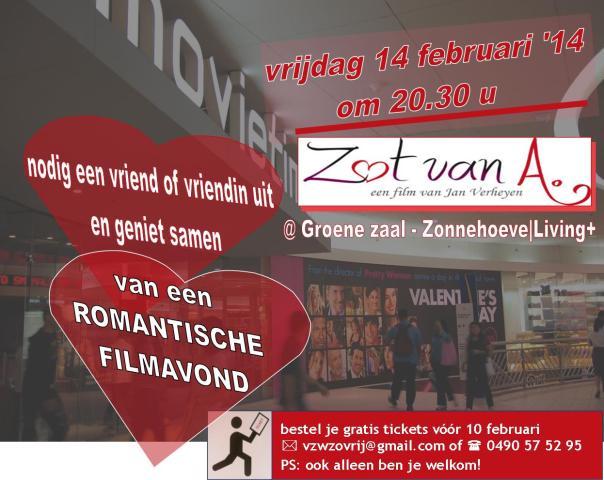 uitnodiging Romantische Valentijn filmavond Zot v A