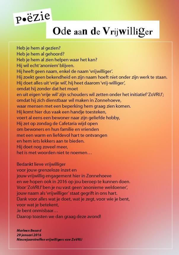 Poëzie - Ode aan de vrijwilliger