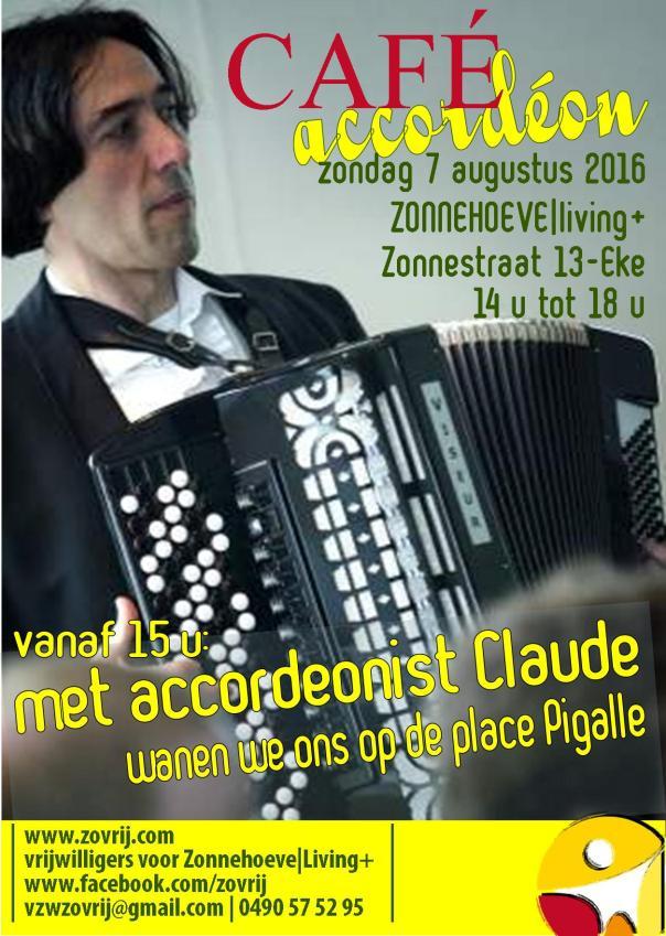 20160807 Affiche Cafetaria met optreden van accordeonist Claude